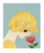 Rose Flower Poster, Woman in Gold Hat Smelling Rose