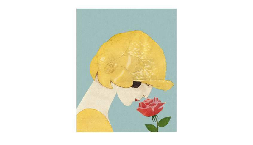 Plant Flower Poster of Woman in Gold Hat Smelling a Red Pink Rose